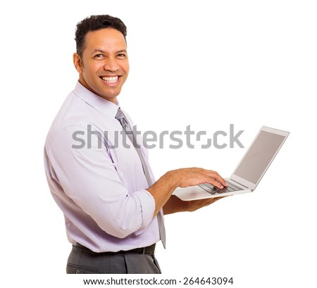 portrait of happy middle aged business man with laptop - stock photo
