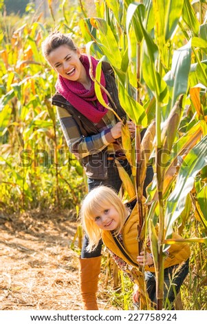 Portrait of happy mother and child in cornfield - stock photo