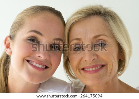 Portrait of happy mother and daughter.  - stock photo