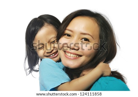 Portrait of happy mother and daughter isolated over white background