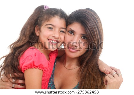 portrait of happy mother and daughter on white background - stock photo