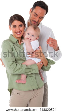 Portrait of happy mother and father with baby Family of three are spending quality time together They are in casuals isolated over white background - stock photo
