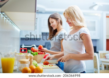 Portrait of happy mother and her daughter cooking in the kitchen - stock photo