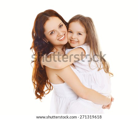 Portrait of happy mother and loving little daughter - stock photo