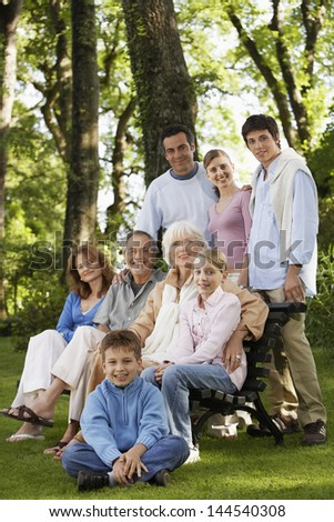 Portrait of happy multi generation family in park