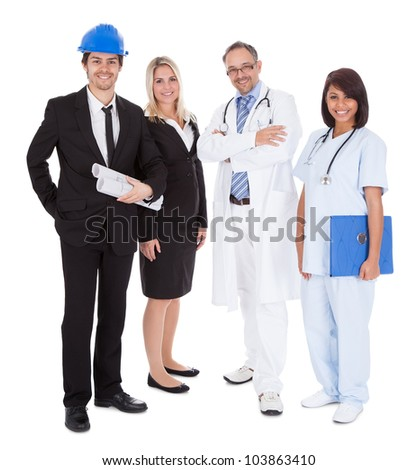 Portrait of happy people of different professions together on white background