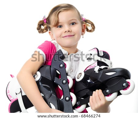 portrait of happy pretty girl with roller on white background - stock photo