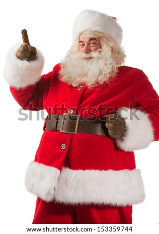Portrait of happy Santa Claus have an idea isolated on white background. Idea gesture. Pointing up with fingertip