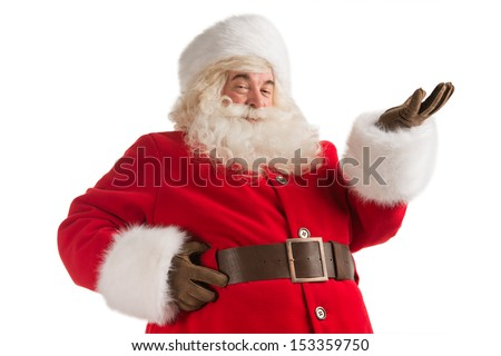 Portrait of happy Santa Claus isolated on white background presenting, greeting, welcoming - stock photo
