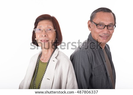 portrait of happy senior asian couples