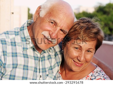 portrait of happy senior couple - stock photo