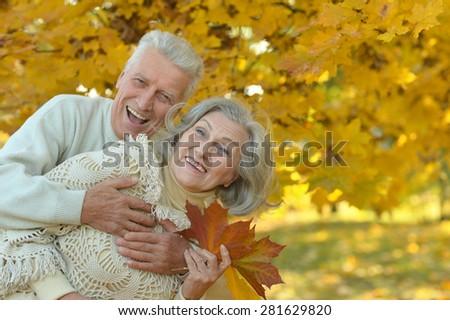 Portrait of happy senior couple hugging in autumn park - stock photo