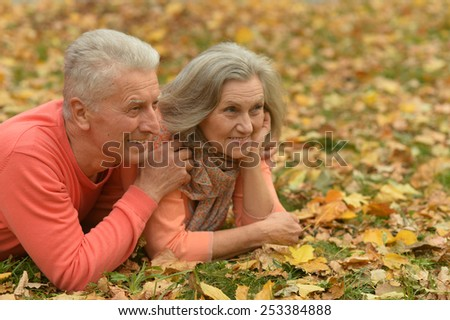 Portrait of happy senior couple in autumn park - stock photo