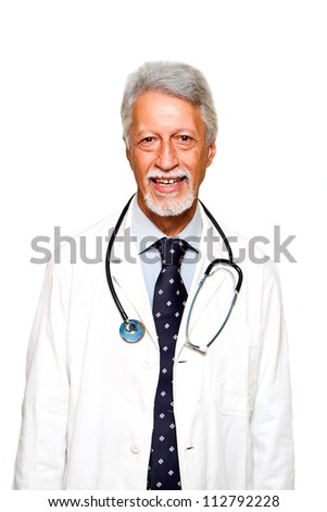 Portrait of happy senior doctor isolated on white background - stock photo