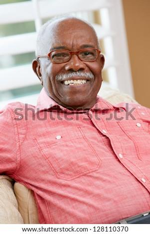 Portrait Of Happy Senior Man At Home - stock photo
