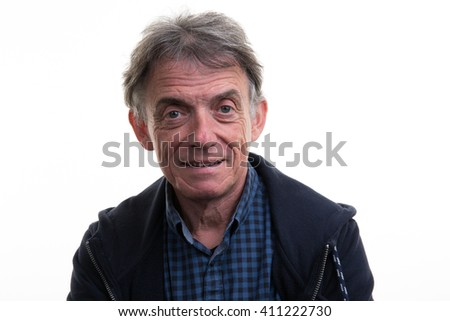 Portrait of happy senior man isolated over white background
