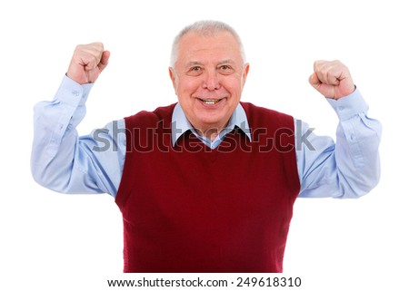 Portrait of happy senior old man with a smile and raised his hands up isolated on white background - stock photo