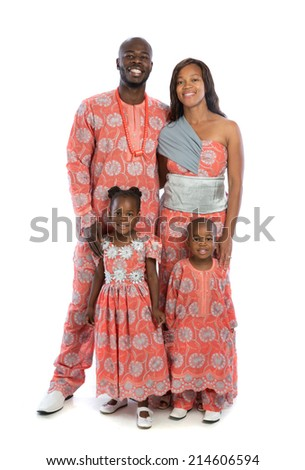 Portrait of Happy Smiling African American Family Wearing Traditional Costume Isolated on White Background