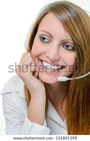 Portrait of happy smiling attractive woman with headphone isolated