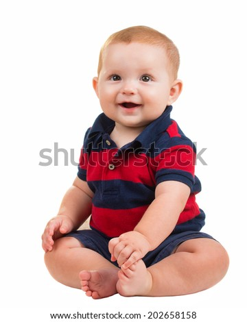 Portrait of happy smiling baby boy isolated on white - stock photo