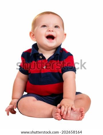 Portrait of happy smiling baby boy isolated on white - stock photo
