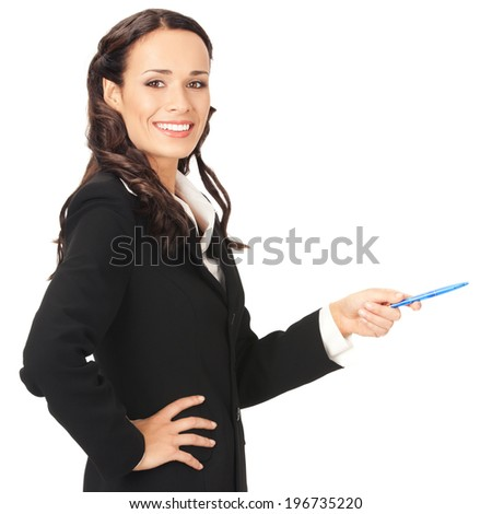 Portrait of happy smiling beautiful young cheerful business woman showing something, isolated on white background