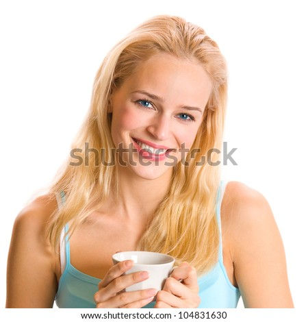 Portrait of happy smiling blonde woman drinking coffee, isolated over white background - stock photo