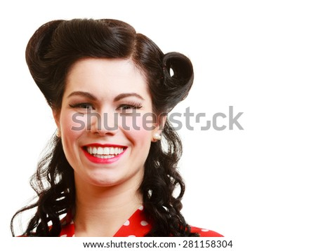Portrait of happy smiling brunette woman pin-up girl with retro hairstyle isolated on white. Studio shot. Blank copy-space. - stock photo