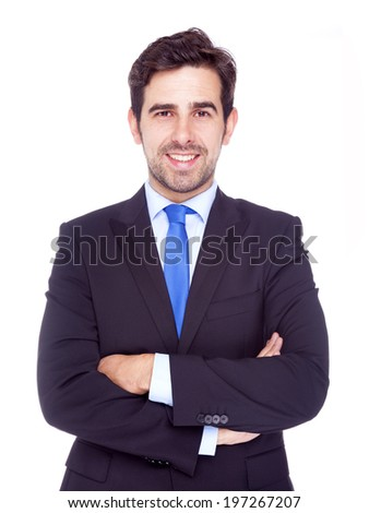 Portrait of happy smiling business man, isolated on a white background