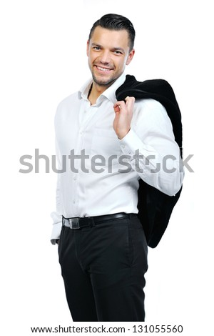 Portrait of happy smiling business man, isolated on white background - stock photo