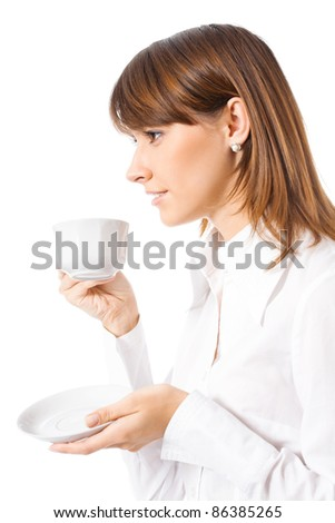 Portrait of happy smiling business woman drinking coffee, isolated over white background