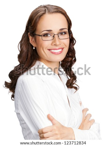 Portrait of happy smiling business woman in glasses, isolated over white background