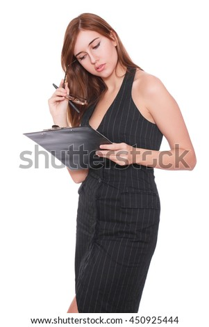 Portrait of happy smiling business woman in glasses with black folder, isolated on white background - stock photo