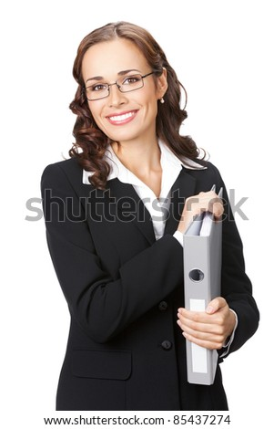 Portrait of happy smiling business woman in glasses with grey folder, isolated on white background - stock photo