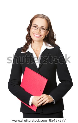 Portrait of happy smiling business woman in glasses with red folder, isolated on white background