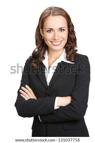 Portrait of happy smiling business woman, isolated on white background - stock photo