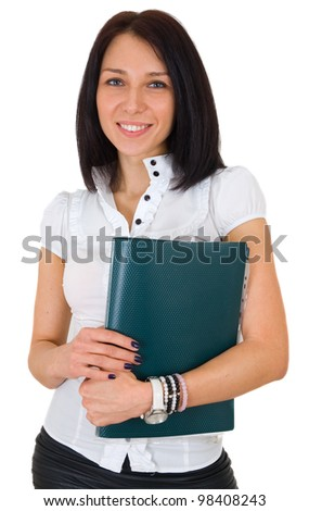 Portrait of happy smiling business woman with folder