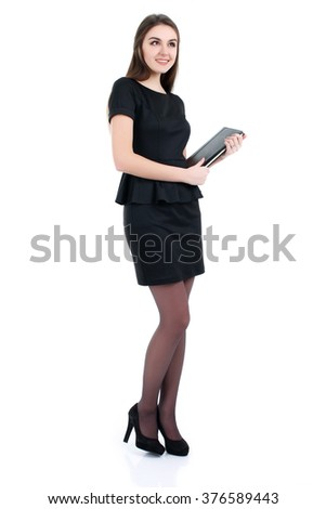 Portrait of happy smiling business woman with folder, isolated on white background