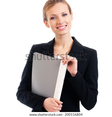 Portrait of happy smiling business woman with grey folder, isolated on white background - stock photo