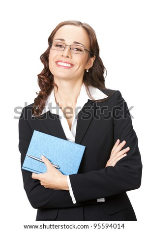 Portrait of happy smiling business woman with notepad or organizer,  isolated over white background