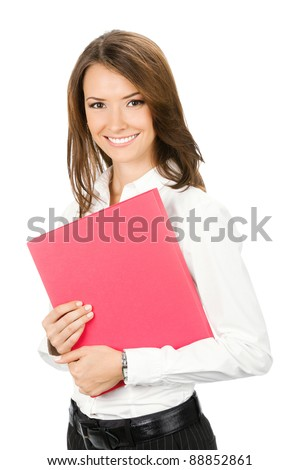 Portrait of happy smiling business woman with red folder, isolated over white background - stock photo