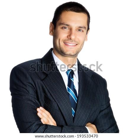 Portrait of happy smiling businessman, isolated on white background - stock photo
