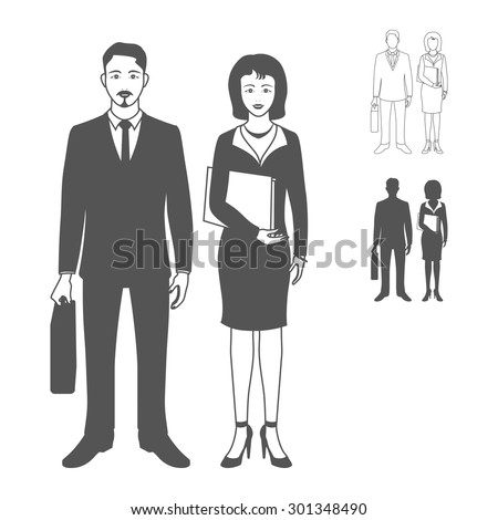 Portrait of happy smiling businessman or young man standing and holding briefcase with happy smiling business woman wearing a suit, smiling, standing and holding folder. Realistic image.  - stock photo
