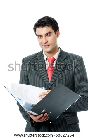 Portrait of happy smiling businessman with folder, isolated on white background