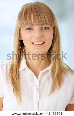 Portrait of happy smiling businesswoman - stock photo