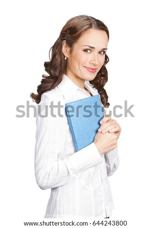 Portrait of happy smiling businesswoman with notepad or organizer, isolated  on white background. Success