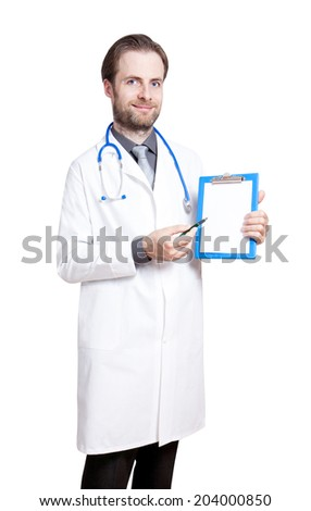 Portrait of happy smiling caucasian forty years old doctor pointing at blank notepad page isolated on white background.