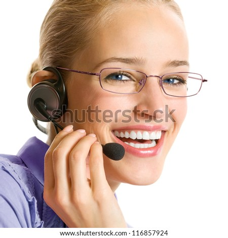 Portrait of happy smiling cheerful beautiful young customer support phone operator in headset, isolated over white background - stock photo