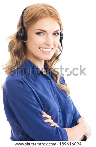 Portrait of happy smiling cheerful beautiful young support phone operator in headset, isolated over white background - stock photo