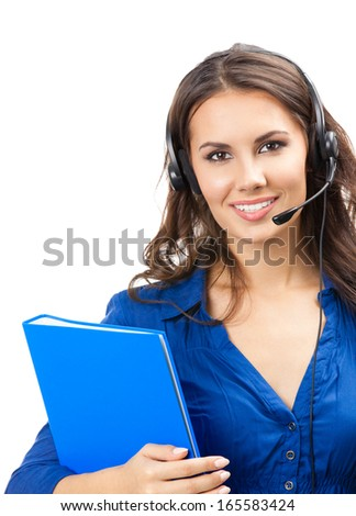 Portrait of happy smiling cheerful beautiful young support phone operator in headset with blue folder, isolated over white background - stock photo